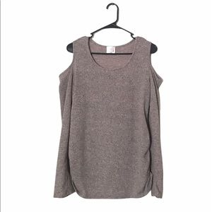 Siren Lily Maternity Cold Shoulder Long Sleeve Top